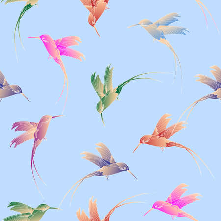 Light seamless pattern with hummingbird.Vector eps 10 Vector