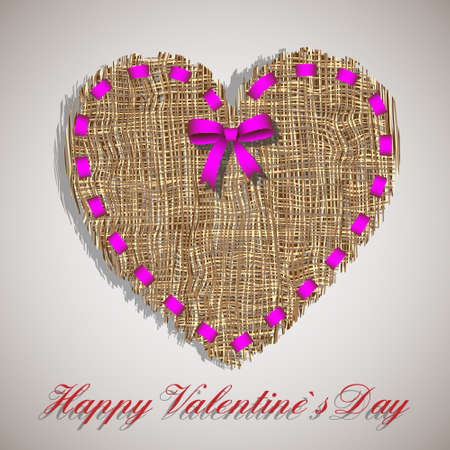 burlap: Organic weave heart with pink ribbon.Creative symbol of valentines day