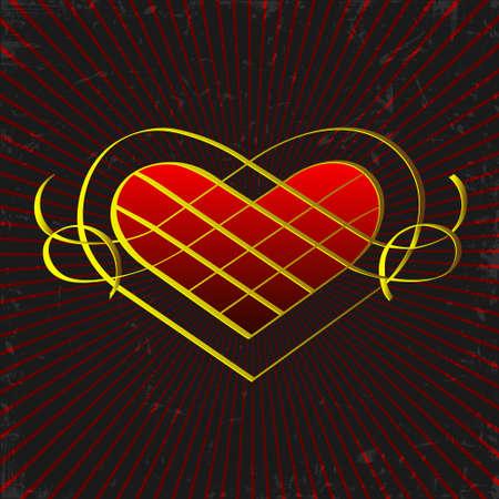 Vintage gold heart on grunge background Vector