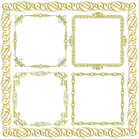 Gold decorative frames.vector set Stock Vector - 11812867