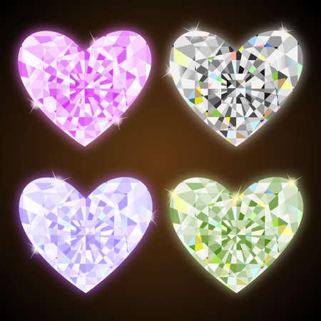 sapphire: Diamond hearts.Vector set Illustration