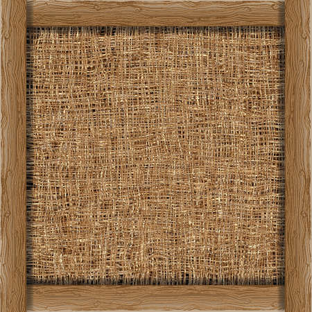 sackcloth: Organic weave background with wooden boards.Vector eps 10
