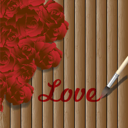 Romantic wooden background with red roses.Vector eps10 Stock Vector - 11812879