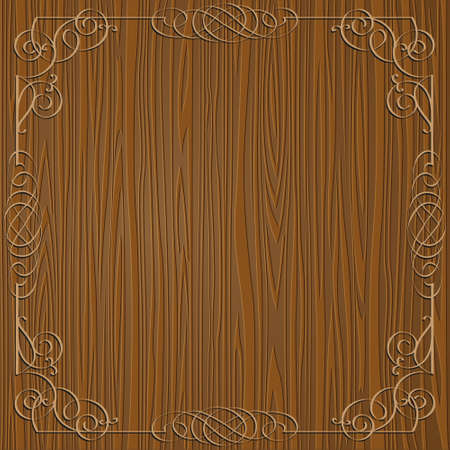 Wooden background with calligraphy ornamental frame Vector