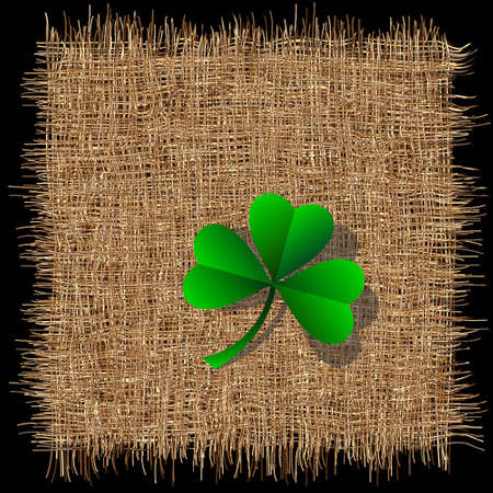 burlap: Leaf  of clover on organic weave pattern. Creative vector for St. Patricks day
