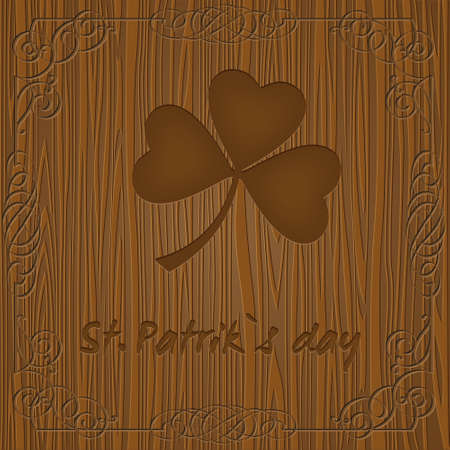 Leaf clover on wooden background.Vector for St. Patricks day  Vector