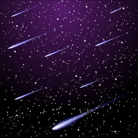 meteor: Vector starry night sky with meteor shower