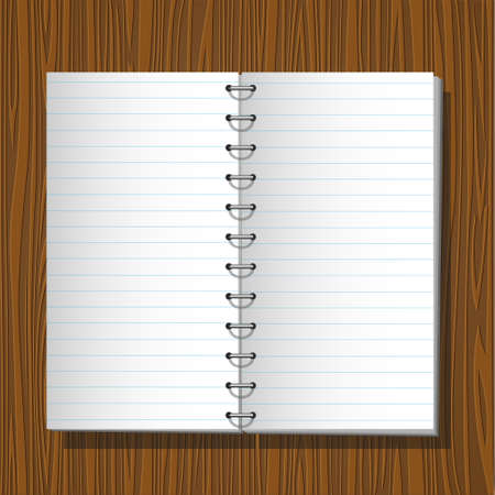 Blank notebook isolated on wooden background. Stock Vector - 12002558
