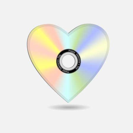 cd label: Creative Valentine heart in shape CD. Illustration