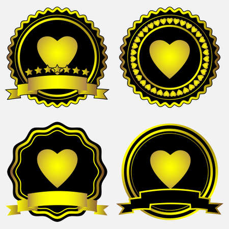 Gold-framed labels with hearts.Vector set  Vector