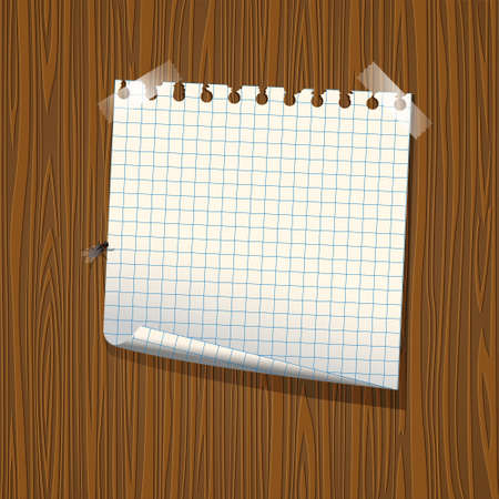 old notebook: Note paper on wood background.  Illustration
