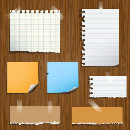 Notes paper on wooden background. Vector