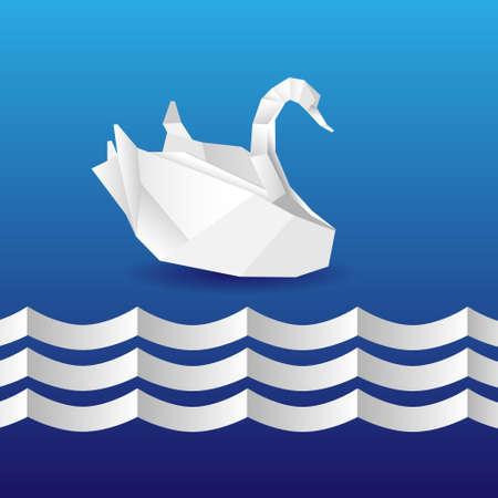 Origami swan.Vector eps10 Vector