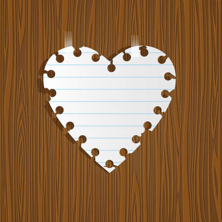 Paper heart on wooden background.  Vector