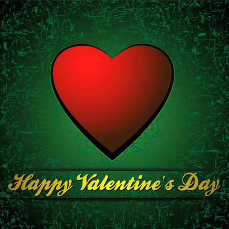 Red heart on green background.Valentines day card  Vector
