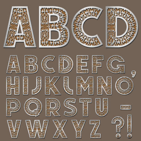 Silver Swirly Alphabet. Vector