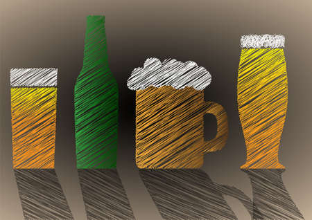 Stylized Scribble beer background. Vector eps10 Stock Vector - 12002573