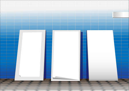 portative: Three white advertising stands.  Illustration