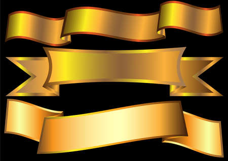 gold banner: Gold ribbons on black