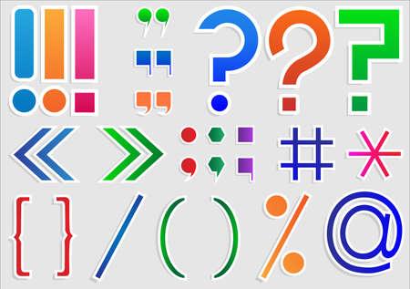 point d exclamation: Ensemble de signes de ponctuation et les signes Illustration