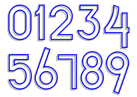 Carved numbers 0-9. Vector