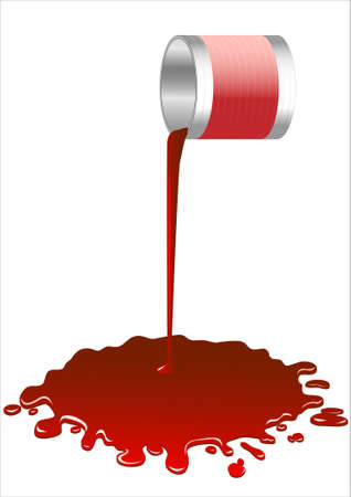liquid material: Spilled red paint from a bucket.