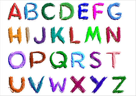 alphabetical letters: Crayon alphabet over white background.