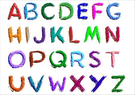 Crayon alphabet over white background. Vector