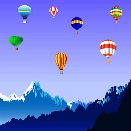 distant: Hot air balloons over the mountains