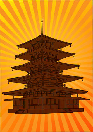 pagoda.Japanese background  Vector