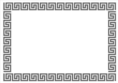 Cornice greca sul telaio background.Greek bianco su sfondo bianco.