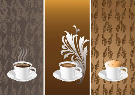 vertical bars: banners with coffee cups. Illustration