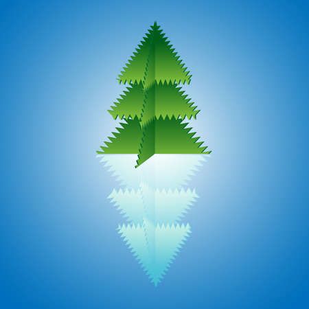 Christmas tree origami with reflection Stock Vector - 12072065
