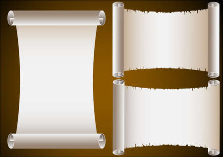 papyrus: Three ancient scrolls. Illustration