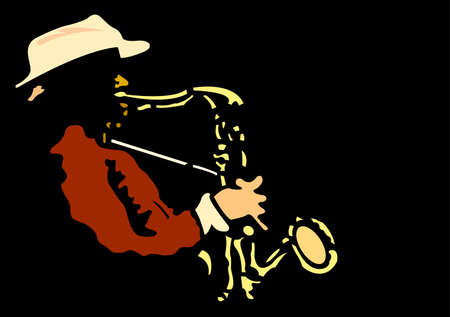 illustration with saxophonist  Vector
