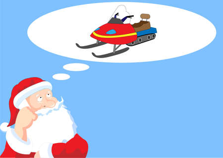 Santa Claus is dreaming of snowmobile Vector