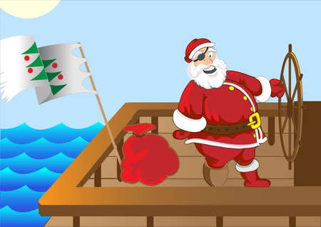 ship with gift: Santa Claus funny pirate ship Illustration