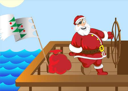 weihnachtsmann lustig: Weihnachtsmann lustig Piratenschiff