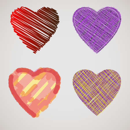 beautification: Collection of textured hearts. Illustration