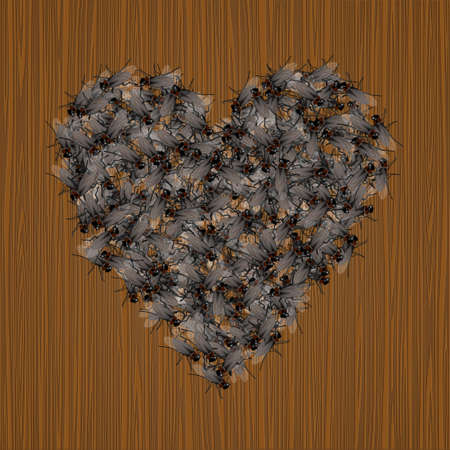 hello heart: Insects in love.Creative valentine`s heart Illustration