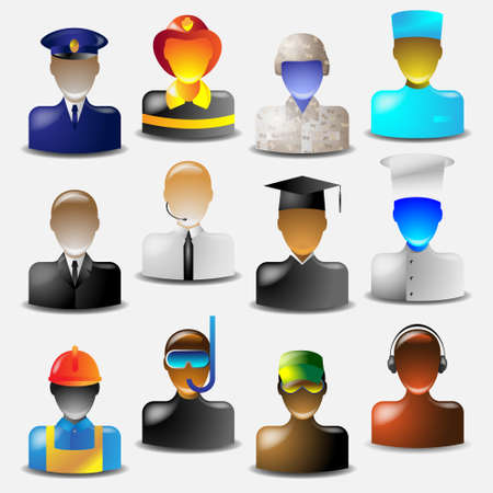 Set of glass icons occupations.Vector eps10 Vector