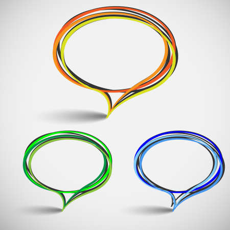 Three abstract talking bubbles.Hand-drawn vector Vector