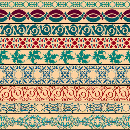 india pattern: Vector Set of vintage borders for design