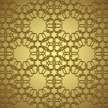 Golden circle ornament in arabic style Vector