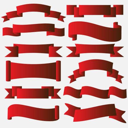 리본: 빨간색 배너 리본 스크롤의 벡터 컬렉션 일러스트