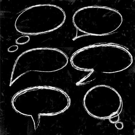 Schets van tekstballonnen gekalkt op zwart