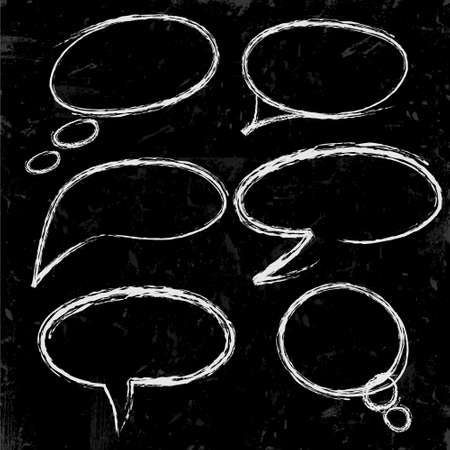 thought: Sketch of speech bubbles chalked on black
