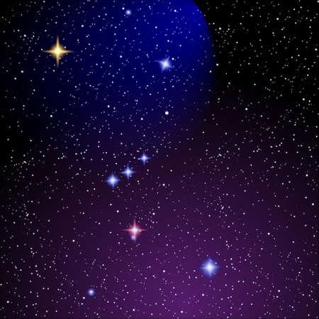 constelaciones: Cielo estrellado y la Nebulosa de Ori�n. EPS Vector 10 Vectores