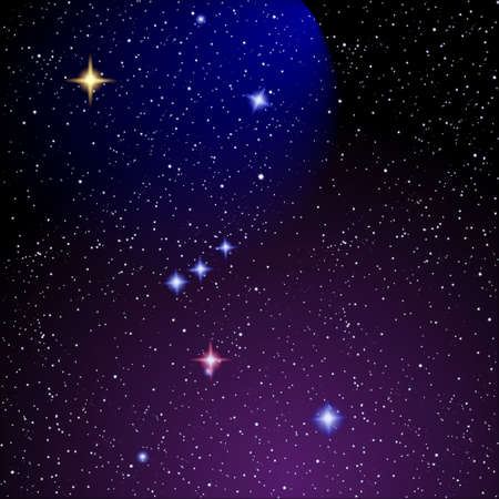 Starry sky and Orion nebula  .Vector eps 10 Vector