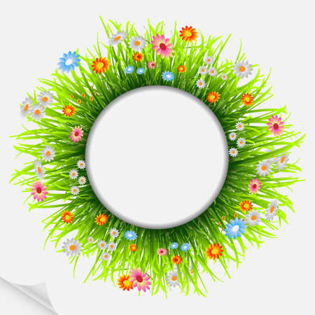 Round natural frame with grass and flowers.Vector eps10 Vector